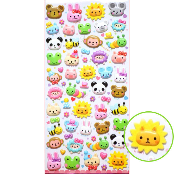 Mind Wave : Animal Face Marshmallow Puffy Stickers!