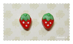 Teeny Tiny Strawberry Hand-sculpted Stud Earrings