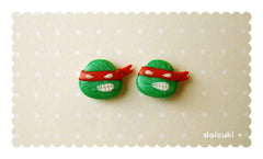 Raphael handmade stud earrings - Teenage Mutant Ninja Turtles Tribute