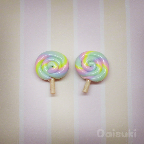 Cute Pastel Coloured Lollipops - Hand-sculpted Stud Earrings, Handmade