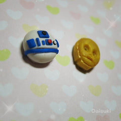 Tiny R2-D2 & C3PO stud earrings - Star Wars tribute - Handmade!