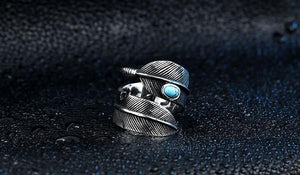 Feather Opening Ring With Stone - Kiwo Shop