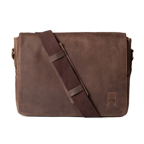 MAINSTAY LEATHER MESSENGER - BROWN