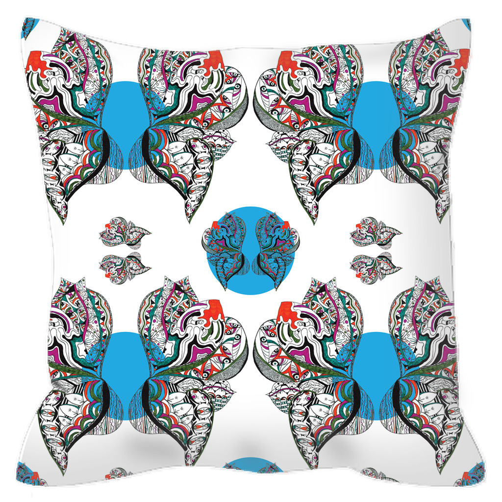Outdoor Pillow in Butterfly (Blue Drops)