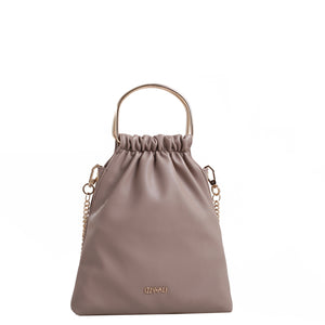 Izzy and Ali Vegan Leather Handbags - Chic Bucket Bag with Chain Crossbody Taupe