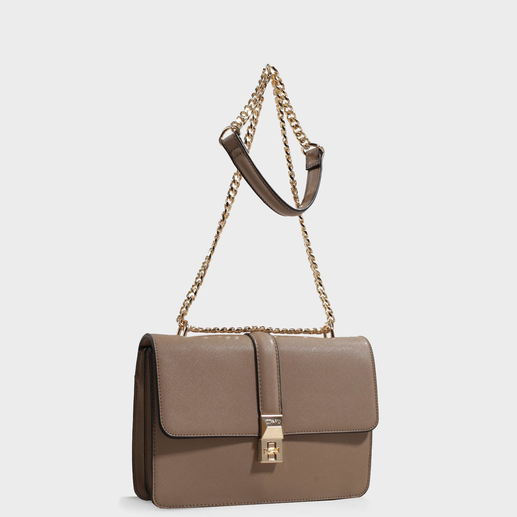 Izzy and Ali Vegan Leather Handbags - Amy Shoulder in taupe