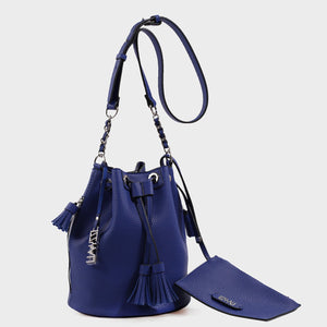 Izzy and Ali Vegan Leather Handbags - Ali Drawstring in blue