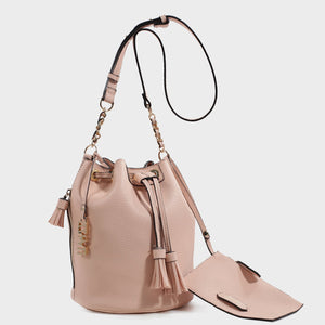 Izzy and Ali Vegan Leather Handbags - Ali Drawstring in blush