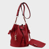 Izzy and Ali Vegan Leather Handbags - Ali Drawstring in red