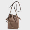 Izzy and Ali Vegan Leather Handbags - Ali Drawstring in taupe