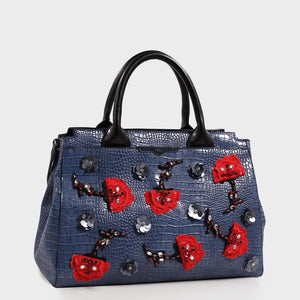 Izzy and Ali Vegan Leather Handbags - Beverly Satchel Embroidered