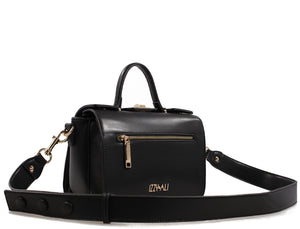 Izzy and Ali Vegan Leather Handbags - Multi Compartment Boxy Bag Black