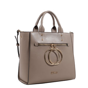 Izzy and Ali Vegan Leather Handbags - Double Ring Large Bucket Tote Taupe