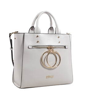 Izzy and Ali Vegan Leather Handbags - Double Ring Large Bucket Tote White