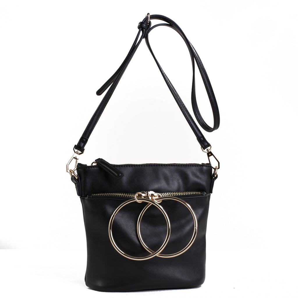 Izzy and Ali Vegan Leather Handbags - Dual Ring Medium Bucket Bag Black