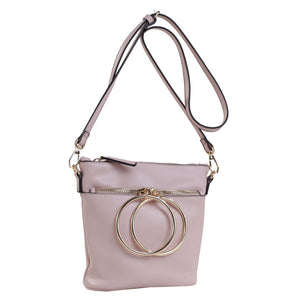 Izzy and Ali Vegan Leather Handbags - Dual Ring Medium Bucket Bag Blush