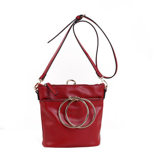 Izzy and Ali Vegan Leather Handbags - Dual Ring Medium Bucket Bag Red
