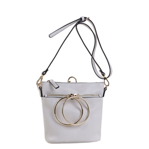 Izzy and Ali Vegan Leather Handbags - Dual Ring Medium Bucket Bag White