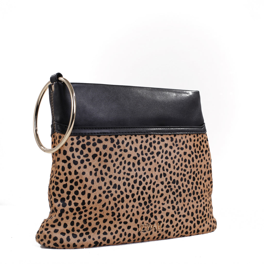 Izzy and Ali Vegan Leather Handbags - Animal Print Clutch Cheetah Black