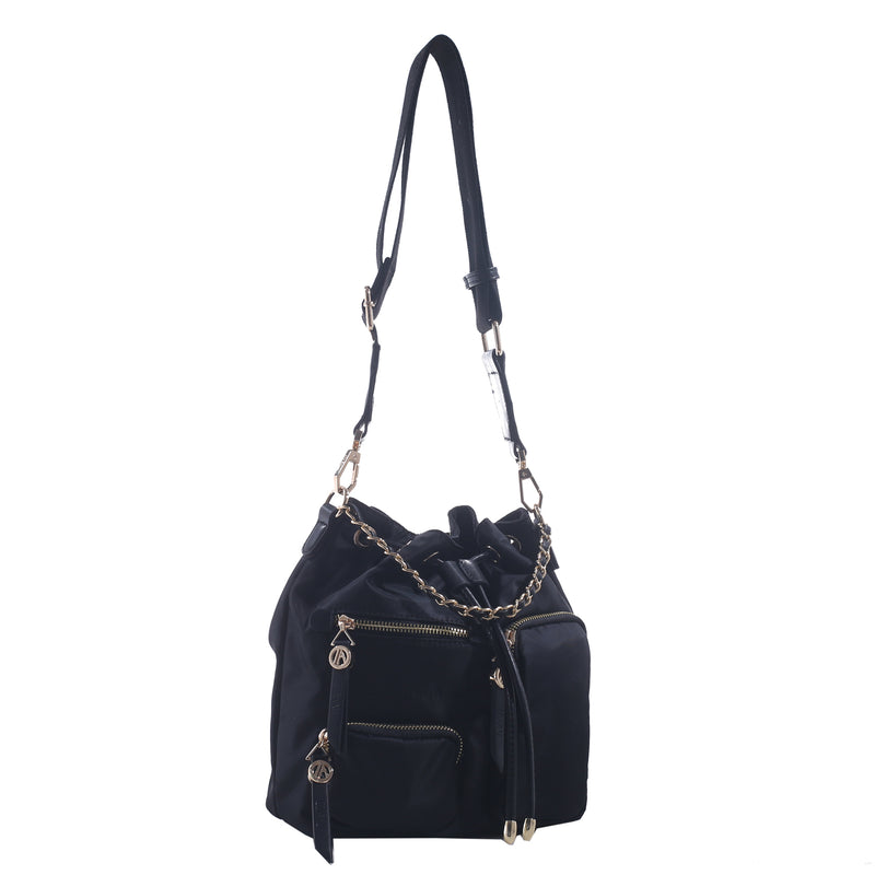 Izzy and Ali Vegan Leather Handbags - Daio Drawstring Black
