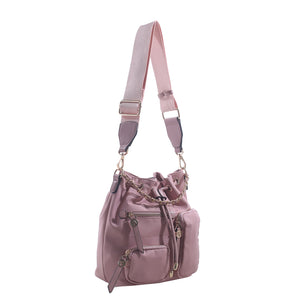 Izzy and Ali Vegan Leather Handbags - Daio Drawstring Blush