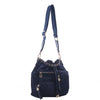 Izzy and Ali Vegan Leather Handbags - Daio Drawstring Navy