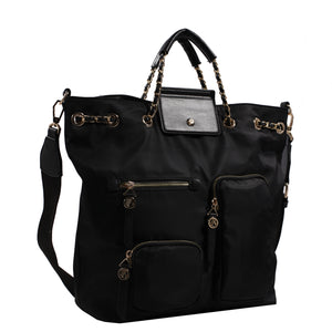 Izzy and Ali Vegan Leather Handbags - Firenze Drawstring Black