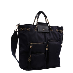 Izzy and Ali Vegan Leather Handbags - Firenze Drawstring Navy