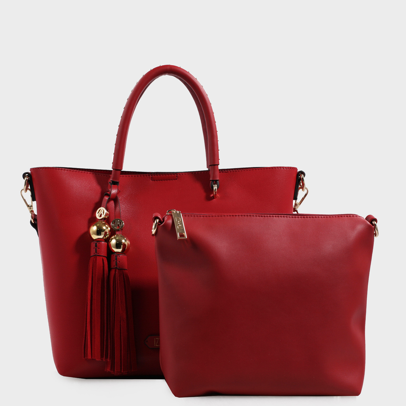 Izzy and Ali Vegan Leather Handbags - Christina Tote Red