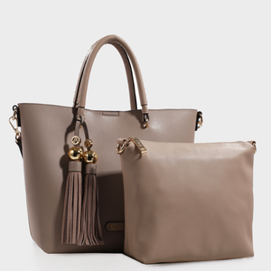 Izzy and Ali Vegan Leather Handbags - Christina Tote Taupe