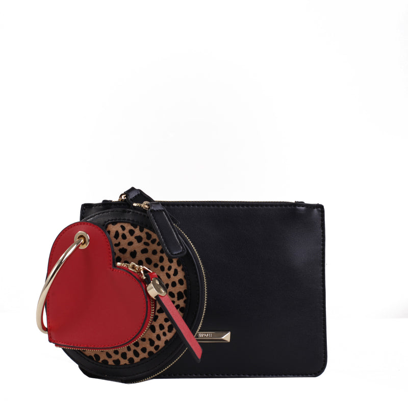 Izzy and Ali Vegan Leather Handbags - Small Clutch with Heart Keychain Pouch