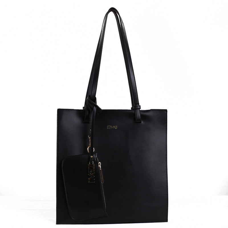 Izzy and Ali Vegan Leather Handbags - Tote with Clutch Black