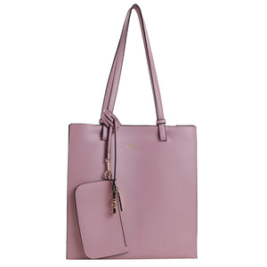 Izzy and Ali Vegan Leather Handbags - Tote with Clutch Pink