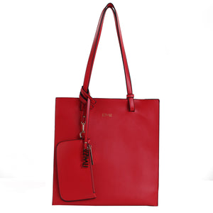 Izzy and Ali Vegan Leather Handbags - Tote with Clutch Red