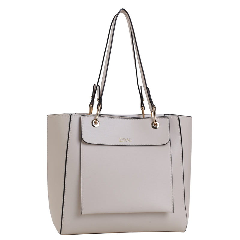 Izzy and Ali Vegan Leather Handbags - Chic Tote Beige