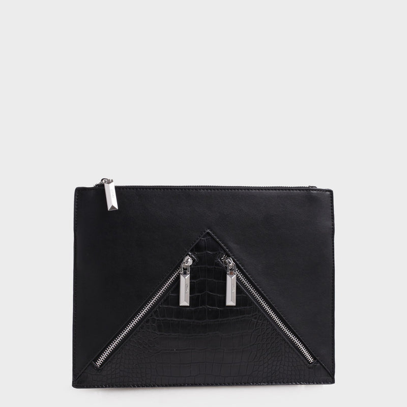 Izzy and Ali Vegan Leather Handbags - Agnes Clutch in black