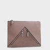 Izzy and Ali Vegan Leather Handbags - Agnes Clutch in taupe