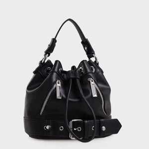Izzy and Ali Vegan Leather Handbags - Agnes Drawstring in black