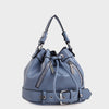 Izzy and Ali Vegan Leather Handbags - Agnes Drawstring in sky blue