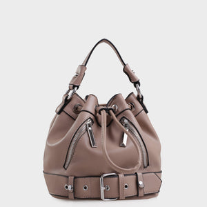 Izzy and Ali Vegan Leather Handbags - Agnes Drawstring in taupe