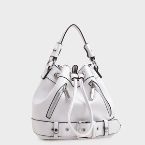 Izzy and Ali Vegan Leather Handbags - Agnes Drawstring in white