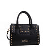Izzy and Ali Vegan Leather Handbags - Studded Satchel Black