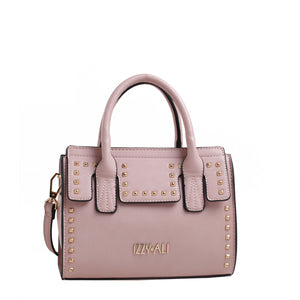 Izzy and Ali Vegan Leather Handbags - Studded Satchel Blush