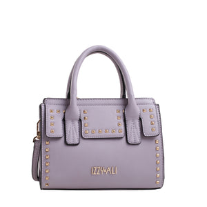 Izzy and Ali Vegan Leather Handbags - Studded Satchel Lilac