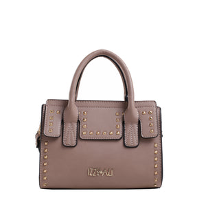Izzy and Ali Vegan Leather Handbags - Studded Satchel Taupe