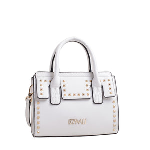 Izzy and Ali Vegan Leather Handbags - Studded Satchel White