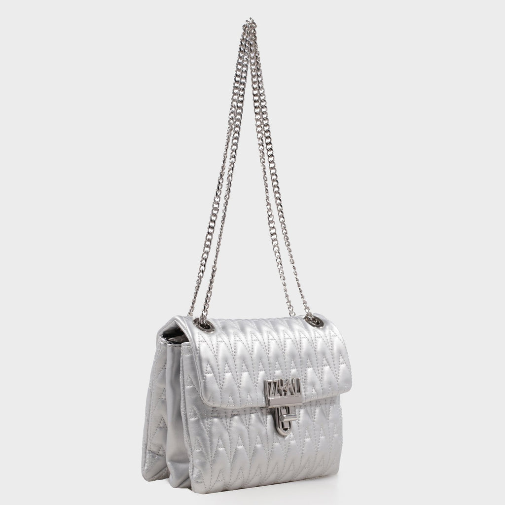 Izzy and Ali Vegan Leather Handbags - Adele Shoulder in silver