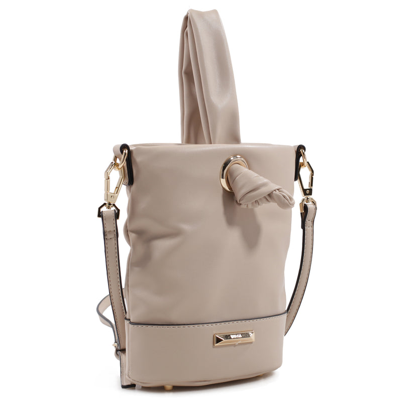 Izzy and Ali Vegan Leather Handbags - Mini Bucket Bag Beige