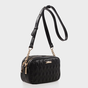 Izzy and Ali Vegan Leather Handbags - Amelie Quilted Camera in black