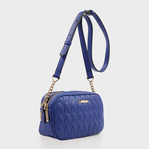 Izzy and Ali Vegan Leather Handbags - Amelie Quilted Camera in blue